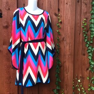 C. Luce Chevron Belted Dress w/ Bell Sleeves